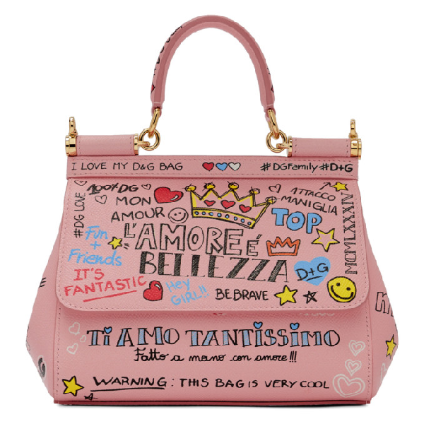 6ea8a2214f Dolce   Gabbana Dolce And Gabbana Pink Small Graffiti Miss Sicily Bag In  Hep52 Pink