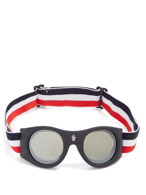 6129ae48e344e Moncler Round Goggle Sunglasses W  Wide Elastic Band