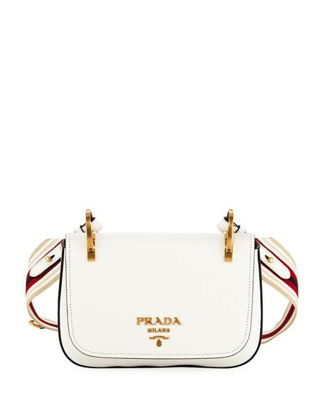 876868a7 City Calf Ring-Top Small Messenger Bag in White