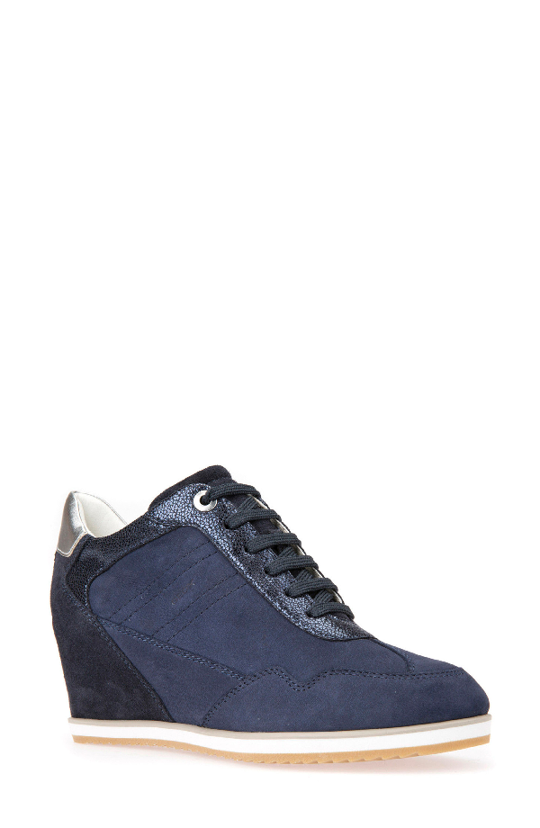 great quality best prices get new Geox Illusion 34 Wedge Sneaker In Navy Leather | ModeSens