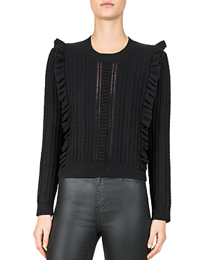 The Kooples Ruffled Cable-Knit Sweater In Black