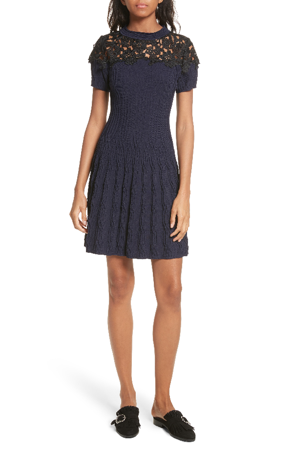 The Kooples Floral Lace-Panel Knitted Dress In Nav03