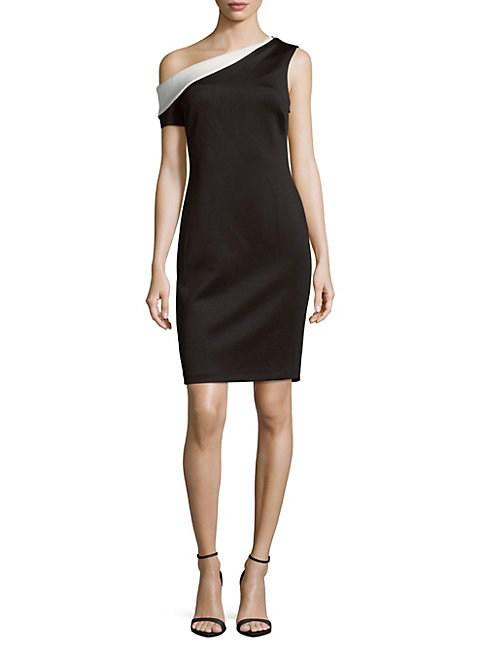 Calvin Klein One-Shoulder Sheath Dress In Black Cream