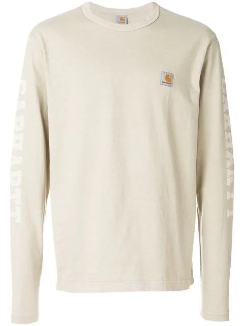 shop order unique design X Carhartt Logo-Print Long-Sleeved Cotton T-Shirt in Neutrals