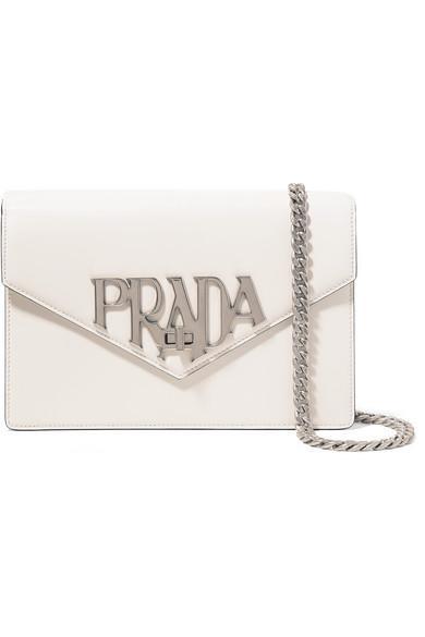 c4574d0af62b Prada Logo Liberty Leather Shoulder Bag In White | ModeSens