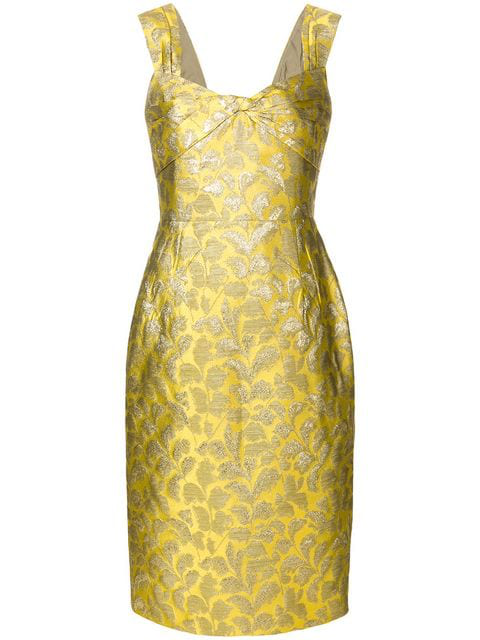 cd16c8d91834e5 Prada Twist-Front LamÉ Brocade Dress In Yellow | ModeSens