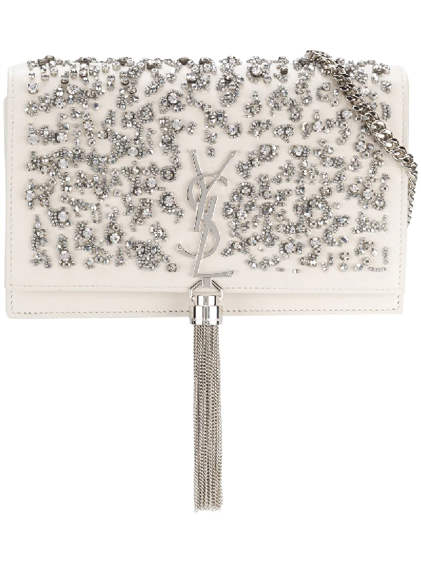 Saint Laurent Kate Crystal Beaded Leather Crossbody Clutch In White Pattern