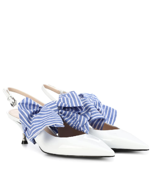Prada Patent Leather Slingback Pumps In White