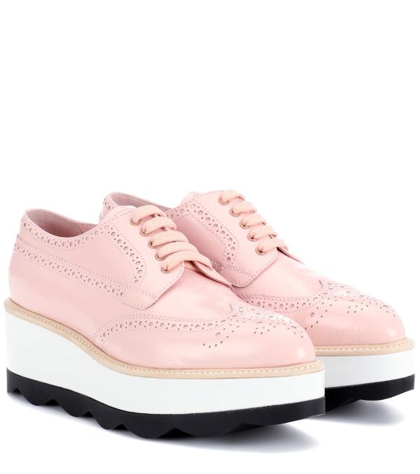 Prada Leather Platform Oxford Shoes In Pink