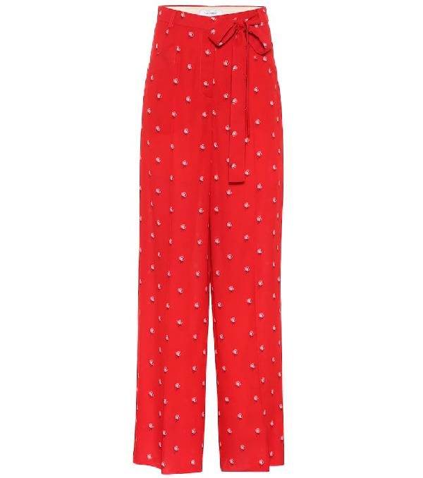 Valentino Rosebud-Print Wide-Leg Silk Pajama Pants In Red