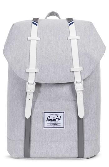 fe30d0fb38 Herschel Supply Co.  Retreat  Backpack - Grey In Light Grey Crosshatch   White