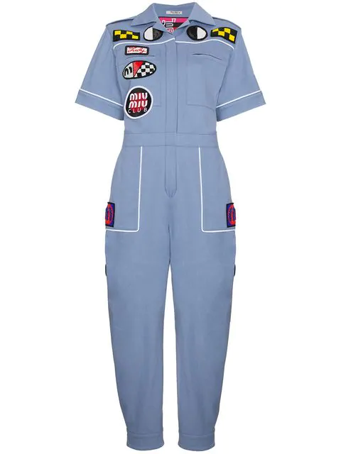 Miu Miu Badge-appliquÉ Cotton-blend Jumpsuit In Blue