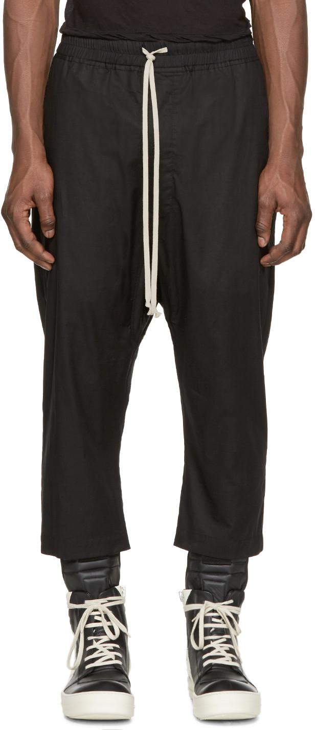 Rick Owens Drawstring Cropped Black Cotton Pants In 09 Black