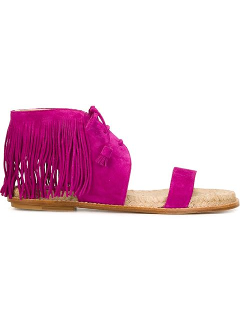 Paul Andrew Shantou Suede Lace-Up Sandals In Pink