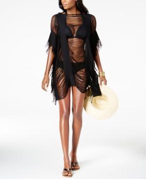 35e327fef1031 Kenneth Cole Sheer Fringe Cover-Up Women's Swimsuit In Black | ModeSens