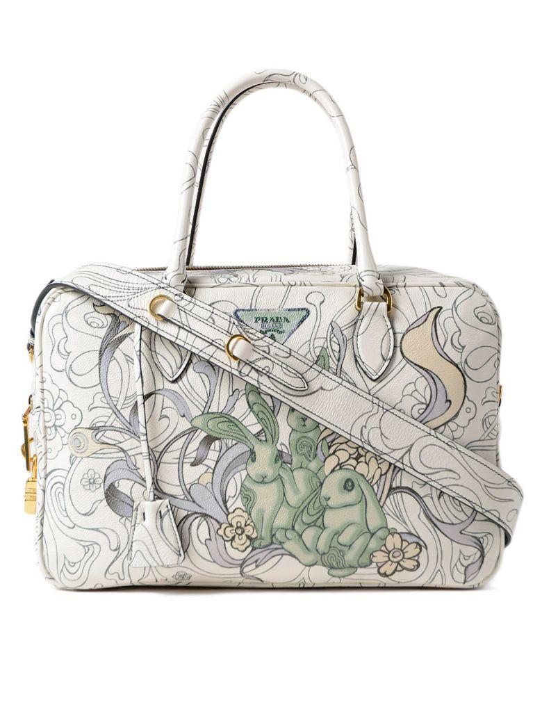 3d3794e10a31 Prada Glace Calf Rabbit Handbag In Giada