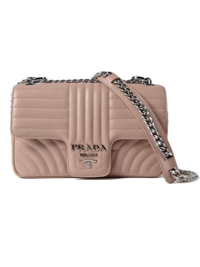 45c59a28431c Prada Diagramme Shoulder Bag In Pink Leather In Cipria   ModeSens