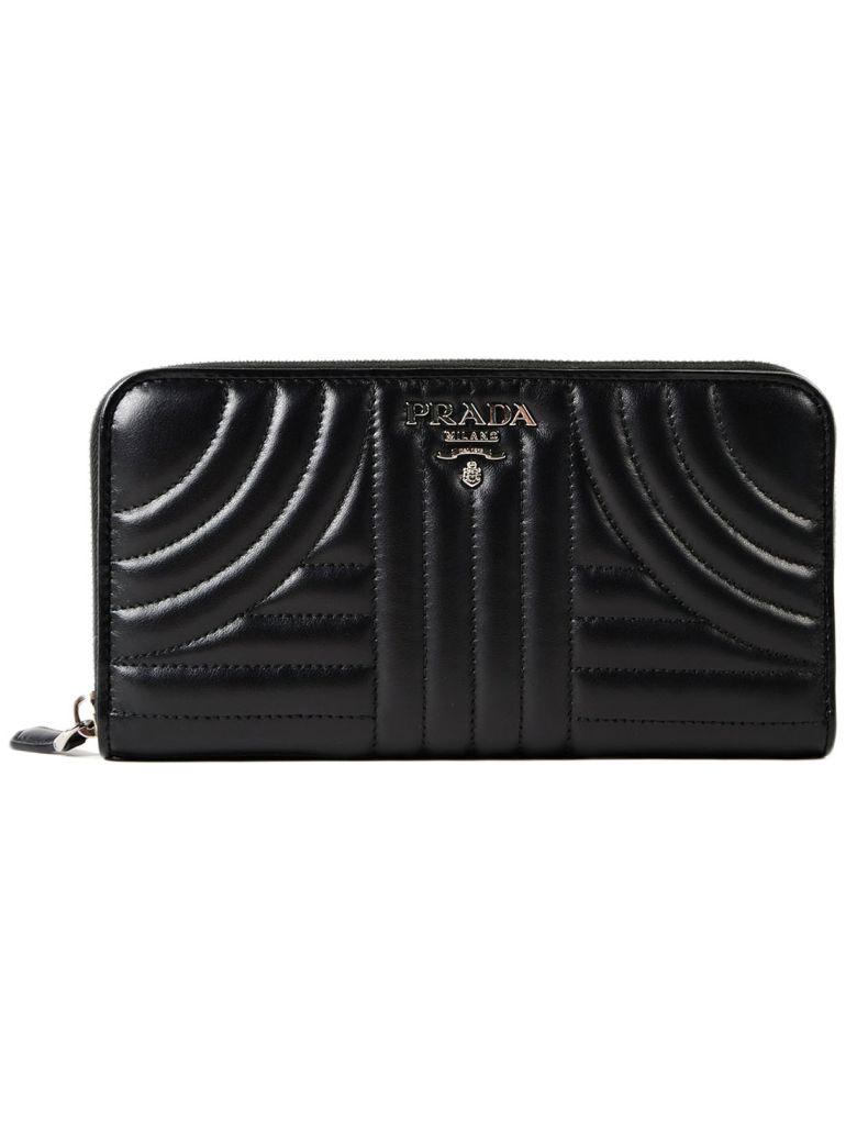 df8c3328c9b7 Prada Soft Calf Impunture Zip Around Wallet In Nero