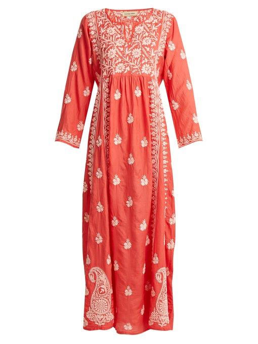 Muzungu Sisters Floral Embroidered Silk Dress In Pink