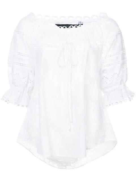 Marissa Webb Lace Detail Blouse In White