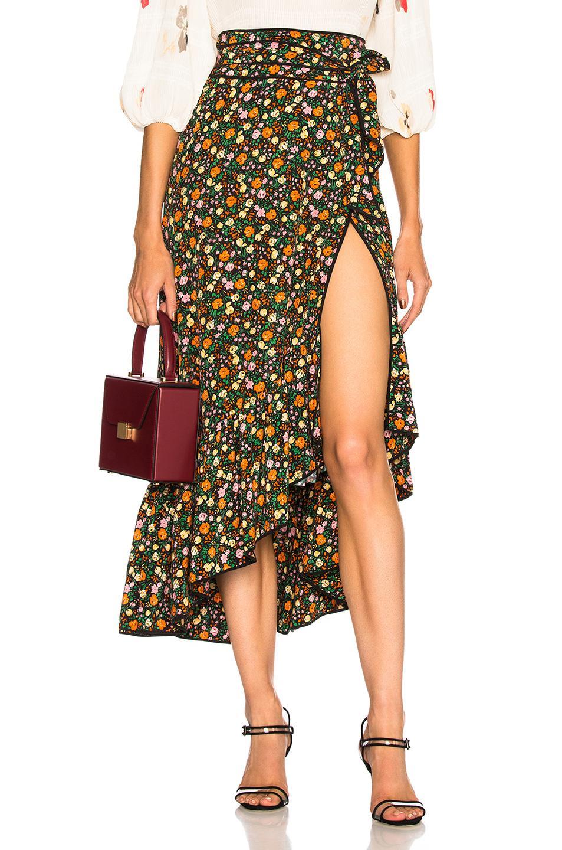 f2becb3da4 Ganni Joycedale Ruffled Floral-Print Silk-Crepe Wrap Skirt In Black ...