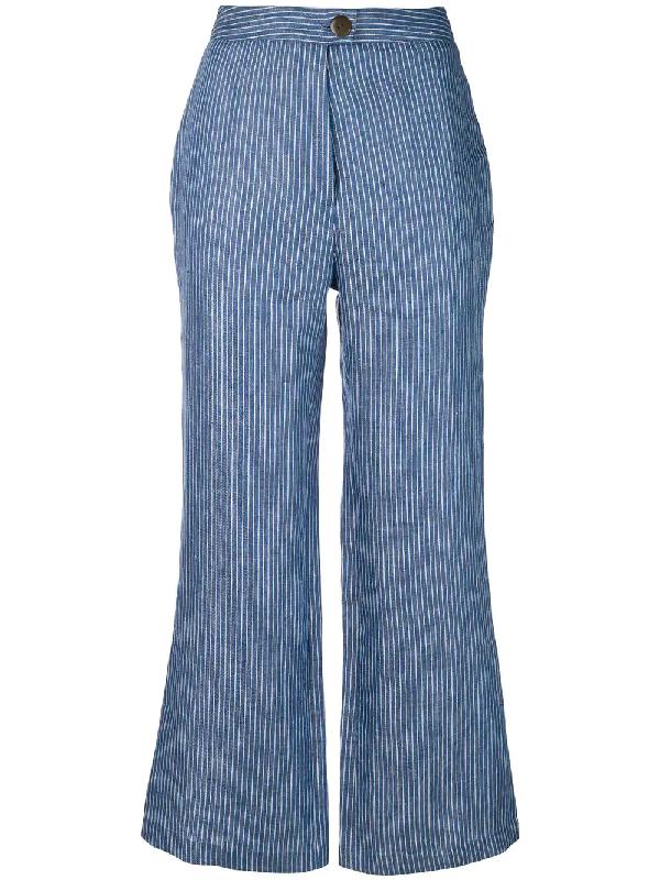 Mara Hoffman Arlene Striped Organic Linen-twill Flared Pants In Blue