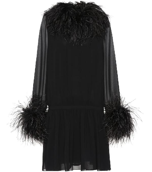 5d1174b417e Saint Laurent Feather-Trim Cinched Chiffon Mini Dress In Black ...