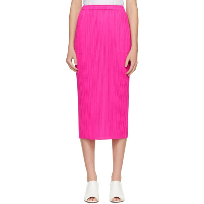 227f4f1f9 Pleats Please Issey Miyake Pleated Straight Midi Skirt In Pink ...