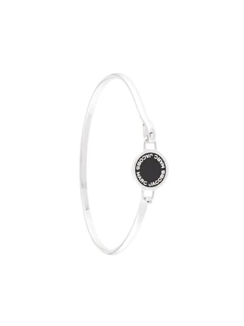 Marc Jacobs Enamel Disc Hinged Bracelet In Silver