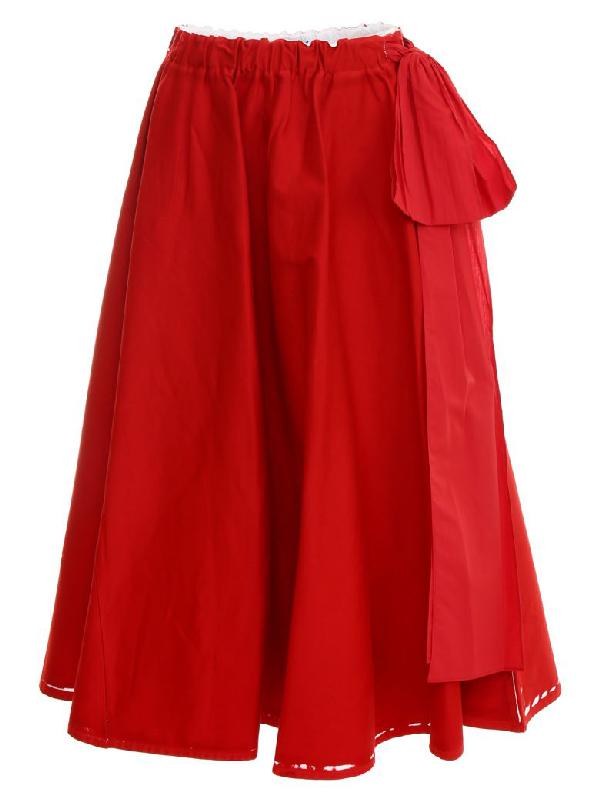 Prada Bow-embellished Printed Stretch-denim Midi Skirt In Red