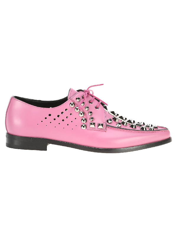 Prada Lace Up Studs In Pink