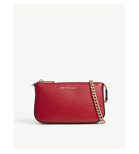 Michael Michael Kors Textured Leather Chain Wallet In Bright Red