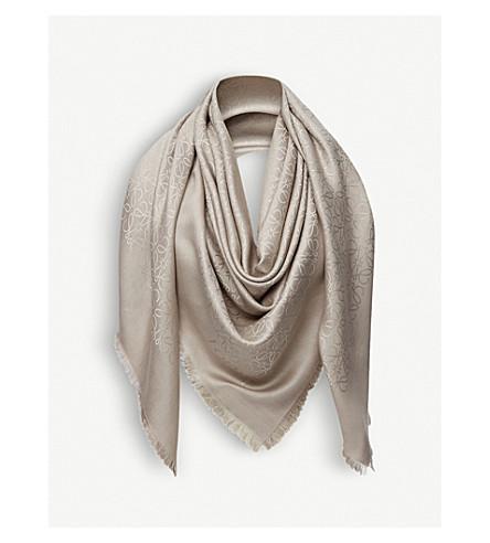 Loewe Anagram Wool And Silk-Blend Scarf In Beige