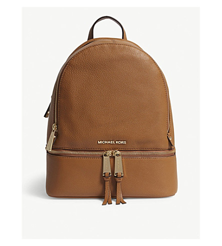 Michael Michael Kors Rhea Medium Leather Backpack In Black