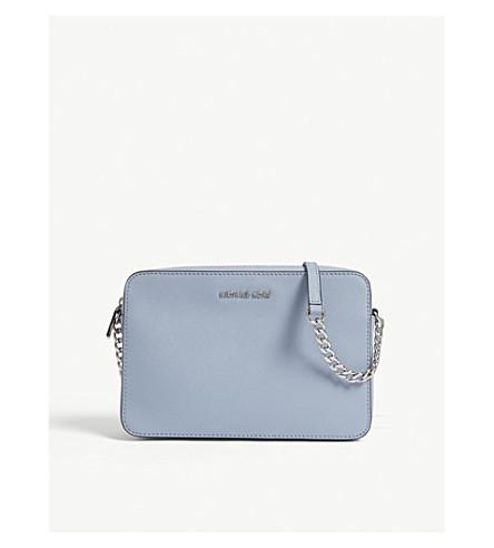 939dfbf2fd88f7 Michael Michael Kors Jet Set Travel Leather Cross-Body Bag In Pale Blue