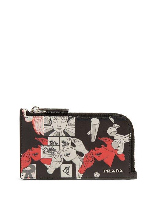 d94f267165ca Prada + James Jean Printed Leather Zipped Cardholder In Black Red ...