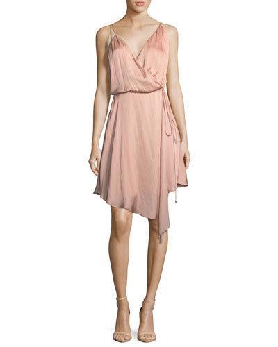 32276a4b9b20 Haute Hippie Bullion Drapey Wrap-Front Satin Dress In Blush | ModeSens