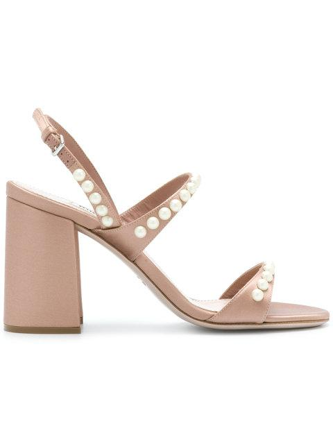 a7e42ed3274a Miu Miu Faux Pearl-Embellished Satin Sandals In Blush
