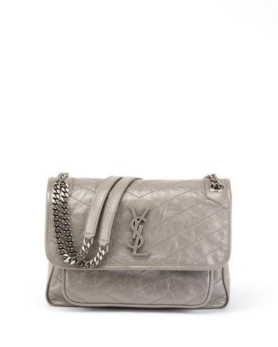Saint Laurent Niki Medium Monogram Shiny Waxy Quilted Shoulder Bag ... e3f6a8434a7e6