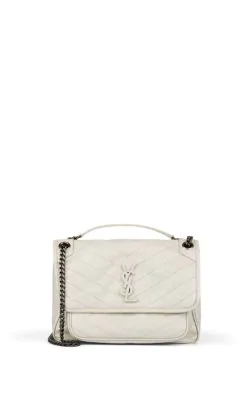 3e28d70f31 Saint Laurent Niki Medium Monogram Ysl Shiny Waxy Quilted Shoulder Bag,  White In Black
