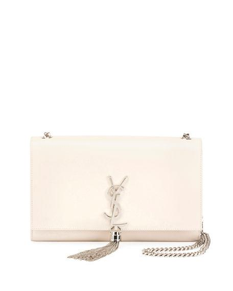 ff48b8050f2 Saint Laurent Kate Monogram Ysl Medium Chain Tassel Shoulder Bag In Cream