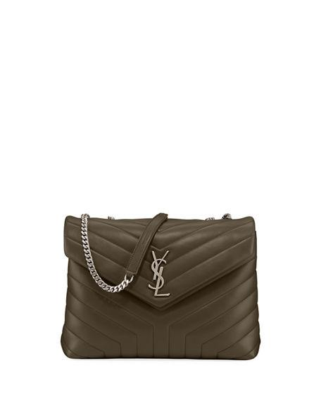 92343ce7fd04 Saint Laurent Medium Lou Lou Chevron Quilted Leather Crossbody Bag In Dk.  Green