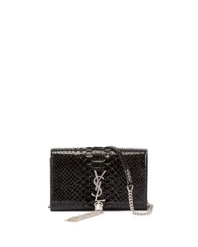f993edb7faf Saint Laurent Kate Monogram Ysl Small Matte Metallic Python Tassel Wallet  On Chain In Gray Metallic