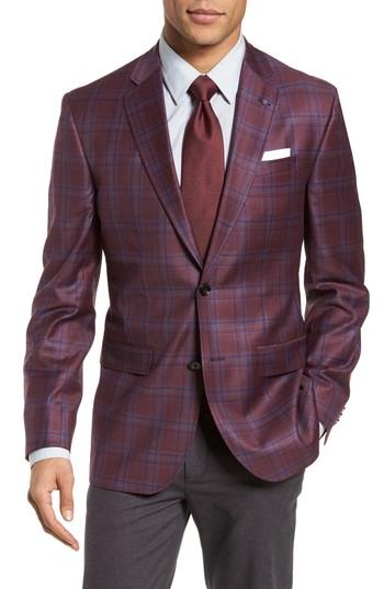 c08b4e13223a Ted Baker Jay Trim Fit Plaid Wool Sport Coat In Red