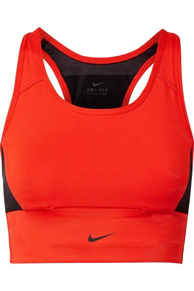 Nike Pocket Mesh-Paneled Dri-Fit Stretch Sports Bra In Habanero Red/ Black/ Black