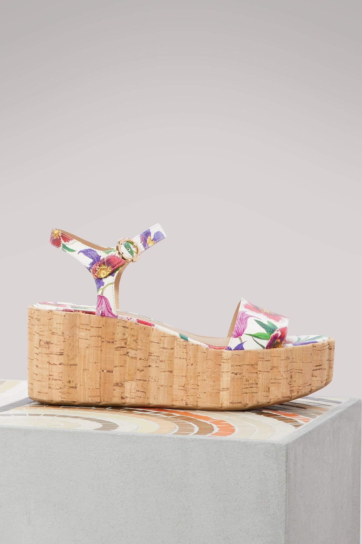 Salvatore Ferragamo Leather Platform Sandal In White/Multi