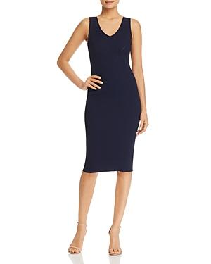 30a8635ac0 Michael Michael Kors Sleeveless V-Neck Ribbed Sweater Dress In True Navy