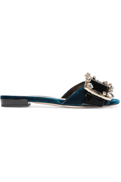 Miu Miu Crystal-embellished Patent-leather And Velvet Slides