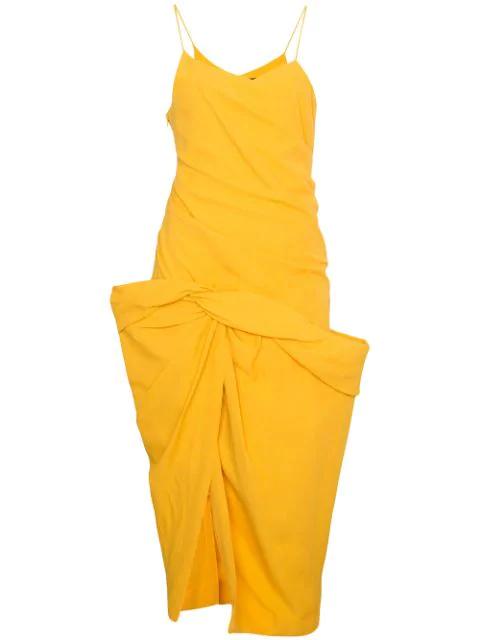 Jacquemus La Robe Sol Off-The-Shoulder Ruffled Canvas Midi Dress In Yellow & Orange