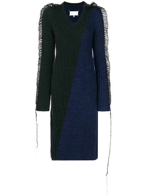 Maison Margiela Contrast Knitted Midi Dress - Blue